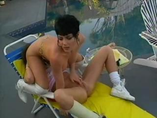 Hot Jeanna Fine is with her lesbian paramour having poolside sex