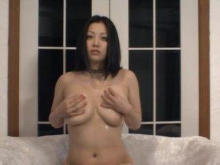 Horny Asian MILF Minako Komukai Masturbates in Sexy Dark Lingerie