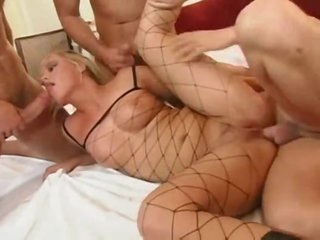 Leather boots girl in a great gangbang