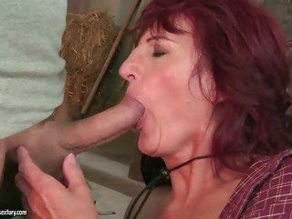 The hot stud didn't mind that he was throat fucking grandma Ria