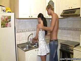 Sexy Brunette Full Body Workout In Kitchen