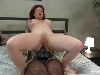 Hot bitch that loves anal fuck herself with a big black strap-on