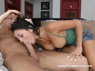 Audrey Bitoni a smoking hot babe gets a dick in her warm mouth