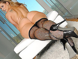 Large ASS BLONDE SCHOOLGIRL SLUT IN FISHNETS OILED UP & FUCKED ANAL
