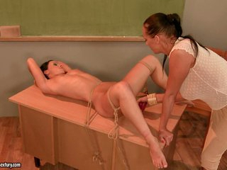 Mandy Bright didoing her student on table