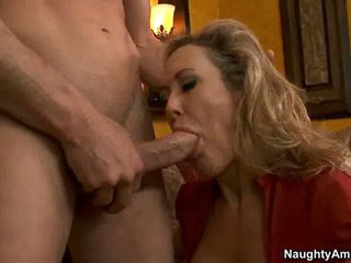 Milf whore Brandi Love sucks off a favourable man's nob like cum coated lollipop