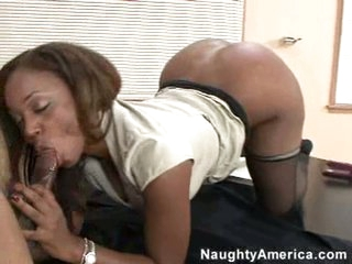 Hawt Sinnamon Love takes a young cock in her hot hungry mouth.