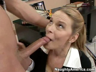 Hot milf Lynn Lemay feasts on a youthful throbbing cock after class.