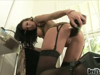 Cock craving whore Alyssa Reece plugs a black toy cock in her tiny hot gap