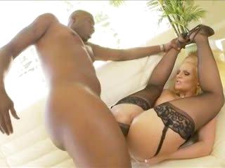 Hot blonde rides big black cock