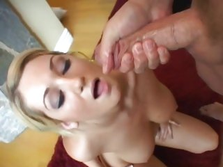Jessica Sweet gets her face sprayed with hot cum