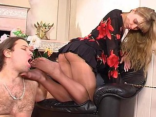 Diana&Lesley having nylon footsex