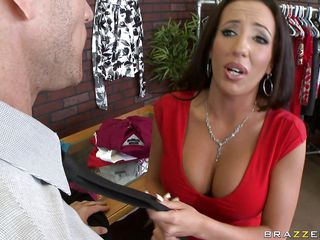hot brunette gets her tits licked by her boss
