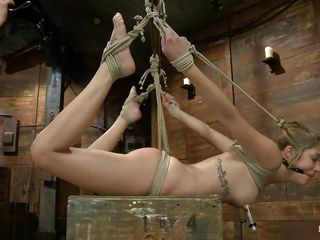 lia hangs tied up and takes it hard in the pussy
