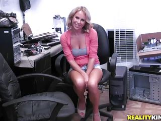 sexy blonde milf wearing short jeans wants a fuck
