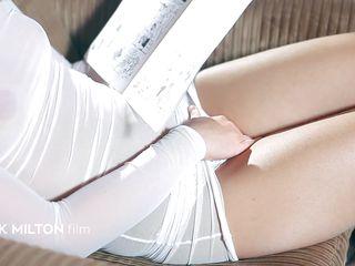 horny blonde chick taking off her white panties and masturbating