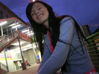 Cute Timea gets her yummy pussy pounded inside a car