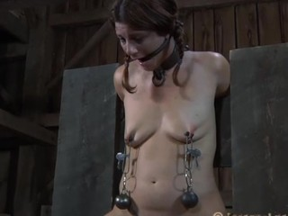 Beauty gets her muff satisfied during the time that inside a cage