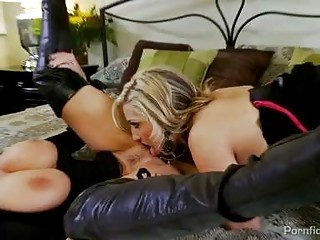 Two busty blondes in black dresses get dirty in 3some with hot stud