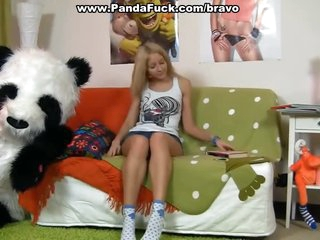 Sexy gal having fun with her panda bear