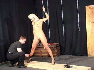 Beauty blond babe slaved by her master !