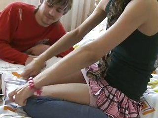 Blonde in a skirt screwed by her BF