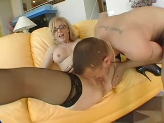 Nina Hartley in stockings and garter thong fucked