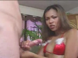 Lingerie on a cock jerking off Asian gal