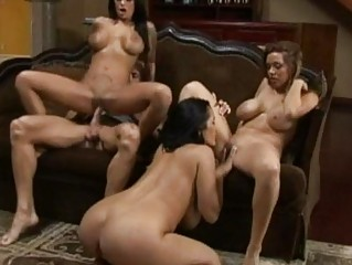 Three enormous chested pornstars sharing one bald stud in foursome