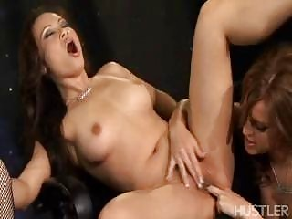 Gorgeous brunette pornstars in high heels having ribald foursome