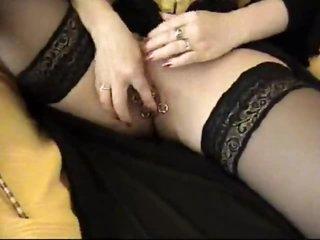 Pierced female-dom in a sexy corset