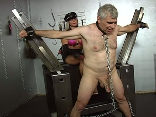 Two slutty slut tortured a old stud !