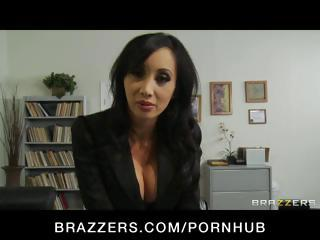 Four hot busty office babes take on the boss and his cock