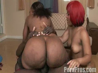 Two black sluts fucked in hot ebony threesome