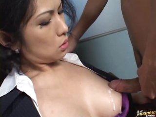 Stunning Asian Secretary Gives a Sexy Blowjob
