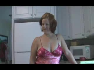 Housewife in satin lingerie kitchen fuck