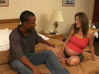 Horny Preggy Babe in Interracial Fuck