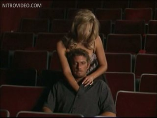 Breasty Blonde Babe Amber Michaels Gets Banged In a Movie Theater