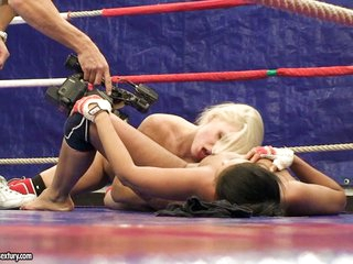 Brandy Smile performed a nude fighting with a sexy babe
