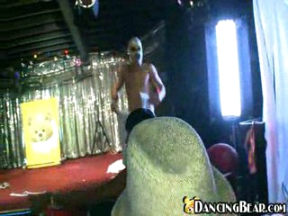 Masked naked dancer groped by hotties