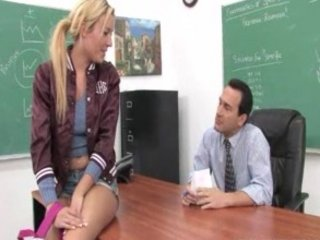 horny golden-haired teen facialized and a hardcore fucking session with her prof
