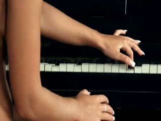 titty golden-haired toying snatch on the piano