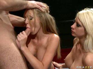 Hot babe Brynn Tyler gets her throat busy sucking a fortunate man's hardon