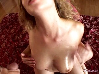 Horny Mysti May spanked her diminutive tits with cum after blowjob