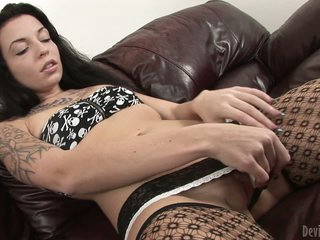 Dark haired Aria Aspen in black stockings takes off her tempting panties and rubs her shaved pussy with passion in front of you. She gets so wet enough to take big dildo with ease after hard pussy rubbing.