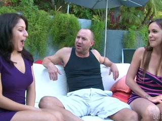 Lucky man spends tine with two lovely chicks Liv Aguilera and Sabrina Taylor. They suck his prick together indoors after talking outside. They love his fuck stick!