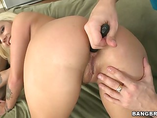 Blonde Lylith Lavey has really wonderful well shaped ass. She bends over for guy and gets her asshole toyed then fucked. This hot bodied blonde loves butt fucking so much.