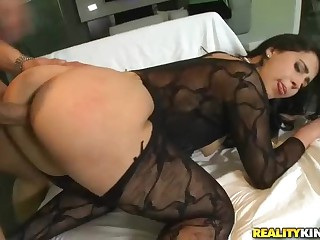 Curvy brunette in black Valerie Kay has incredibly sexy big round ass. She bends over to take hard dick in her eager pussy doggy style. Man fucks her pussy like crazy. And Valerie Kay gets wetter and wetter inside.