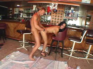 Shemale in the bar bent over for anal