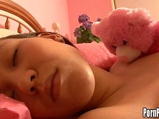 Asin Pleasantheart Amai Liu Acquires Her Face Hole Attacked By A Cock While Sleeping